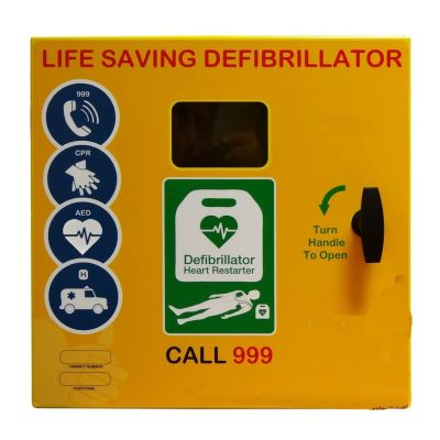 Defibrillator Cabinet - Square - Mild Steel unlocked & Electrics ideal for Outdoor use - Yellow