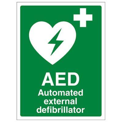 AED Self Adhesive Sign - Rigid Plastic (150mm x 200mm)