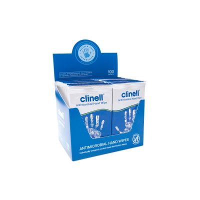 Clinell Antibacterial Hand Wipes (Box of 100 Sachets)