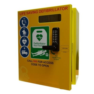 Defibrillator Cabinet - Rectangle - Stainless Steel with Lock & Electrics ideal for Outdoor use - Yellow