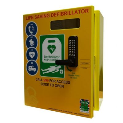 Defibrillator Cabinet BT Approved - Rectangle - Mild Steel with Lock & Electrics ideal for Outdoor use - Yellow