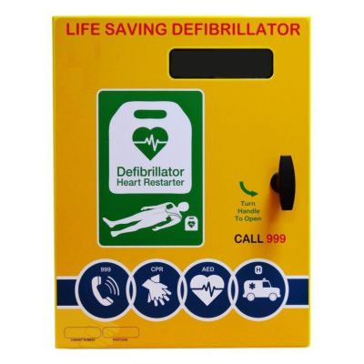 Defibrillator Cabinet - Rectangle - Steel unlocked & Electrics ideal for Outdoor use - Yellow