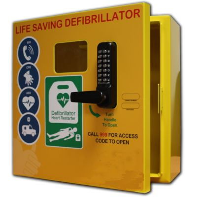 Defibrillator Cabinet - Square - Stainless Steel with Lock & Electrics ideal for Outdoor use - Yellow