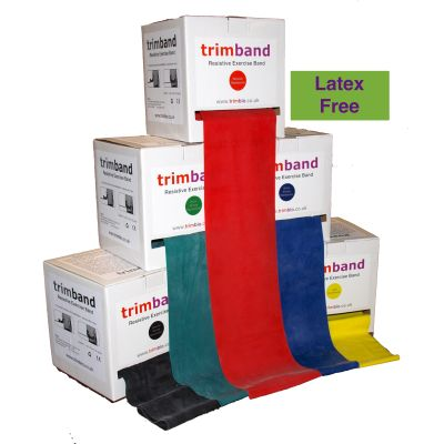 Latex Free trimband Resistance Exercise Band 45.7m (50 yards) Dispenser Box Range