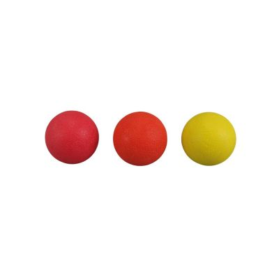 Set of Massage Balls (TPR) 6cm diameter, Yellow - Firm, Orange - Hard, Red - Very Hard.