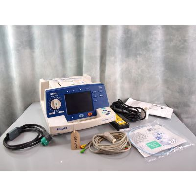 Philips HeartStart XL Defibrillator biphasic AED with 3 lead ECG,  NEW Battery Pack, NEW Defib Pads & NEW ECG Electrodes