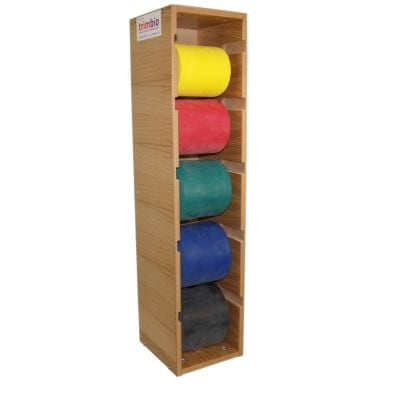 5 Rolls of Latex Free trimband Resistive Exercise Band 45.7m (Yellow, Red, Green, Blue, Black) with FREE Wooden Dispenser