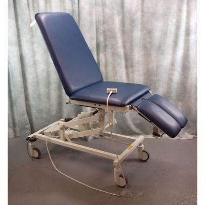 Akron 3 Section Electric Podiatry / Orthopaedic Couch with Split Leg Sections &  blue upholstery