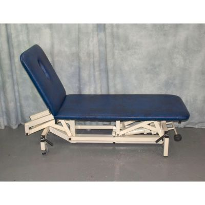 Akron 2 Section Twin Lift Hydraulic Couch with Blue Upholstery & Breathe Hole