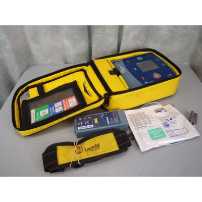 Laerdal Heartstart FR2+ AED Defibrillator, (38%) Battery, 1 Pack of NEW Electrodes & Carry Bag