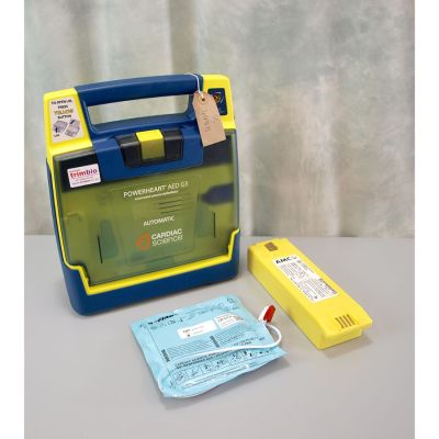 Cardiac Science G3 AED Fully Automatic Defibrillator with NEW Battery (100%) & 1 Pack of NEW Electrodes