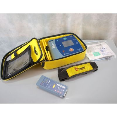Laerdal Heartstart FR2+ AED Defibrillator with Battery (83%), 1 NEW Pack of Electrodes & Carry Bag