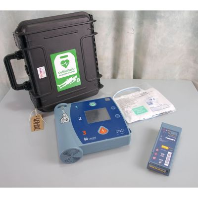 Laerdal Heartstart FR2+ AED Defibrillator with Battery (76%), 1 NEW Pack of Electrodes & Robust Carry Case