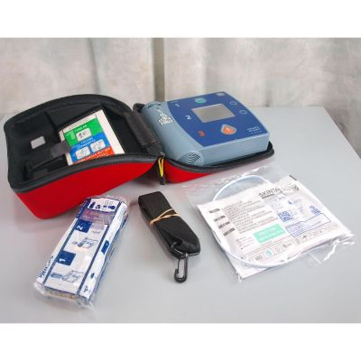 Philips Heartstart FR2+ AED Defibrillator with NEW Battery (100%) , 1 Pack of NEW Electrodes & Carry Case