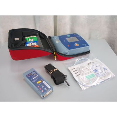 Philips Heartstart FR2+ AED Defibrillator with Battery (98%) , 1 Pack of NEW Electrodes & Carry Case
