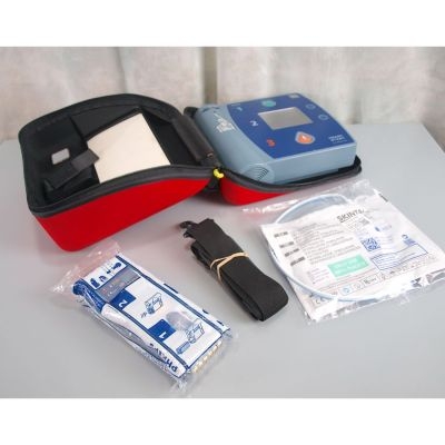 Philips Heartstart FR2+ AED Defibrillator, with NEW Battery (100%), 1 Pack of NEW Electrodes & Carry Case