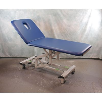 Plinth 2 Section Hydraulic Couch with Wide (70cm)  Blue Upholstery & Breathe Hole - Less than 1 YEAR OLD