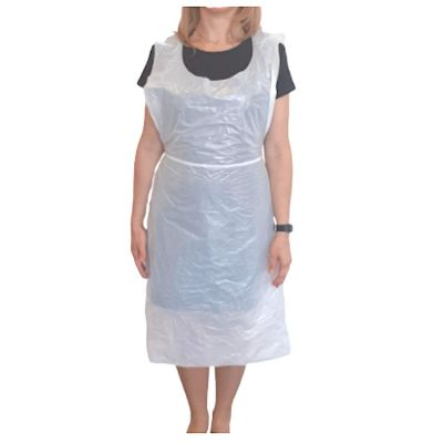 Disposable Aprons 68cm x 117cm (16 Microns Thick) White - Pack of 200