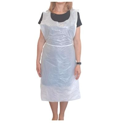Disposable Aprons 67.5cm x 101cm (15 Microns Thick) White - Pack of 100